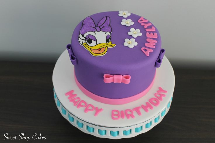 Daisy Duck themed birthday cake