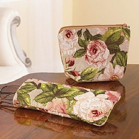 £26.50 Aubusson Rose Glasses Case & Purse  Cotton tapestry accessories echo the soft rose motifs from a set of late-19th century Aubusson cushions.