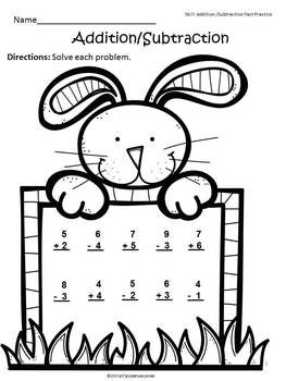 FREE Easter - Addition and Subtraction Practice