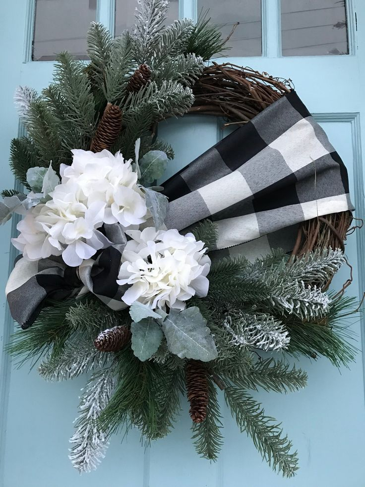 Black And White Buffalo Plaid Ribbon With Pine On