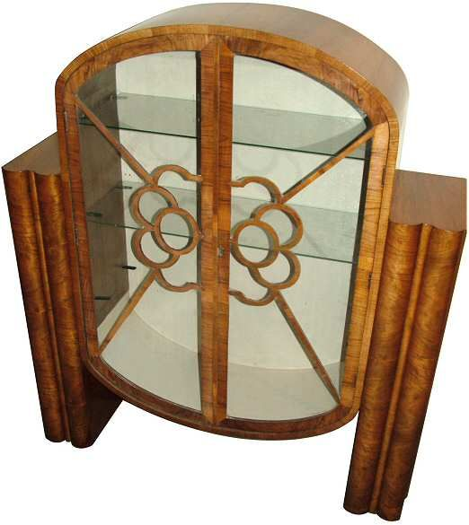 1930s Art Deco Walnut Display Cabinet