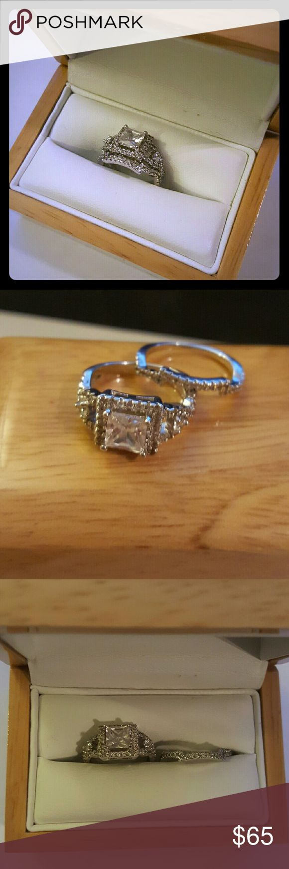 Sale⬇Engagement ring connected band set 5.5 Wedding Engagement  set from Neiman Marcus  925 Silver and clear CZ stones (stamped)  2 rings band and engagement ring size 5 - 5.5 Wooden box not included if on sale Neiman Marcus Jewelry Rings