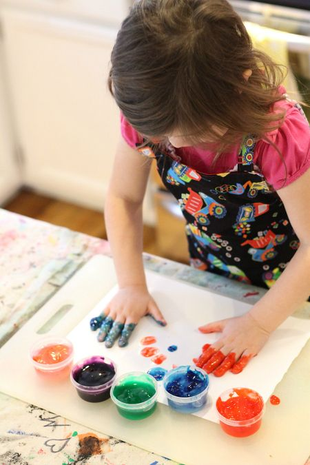 Make finger paint with simple ingredients you probably already have, then get out of the way and let the art happen.