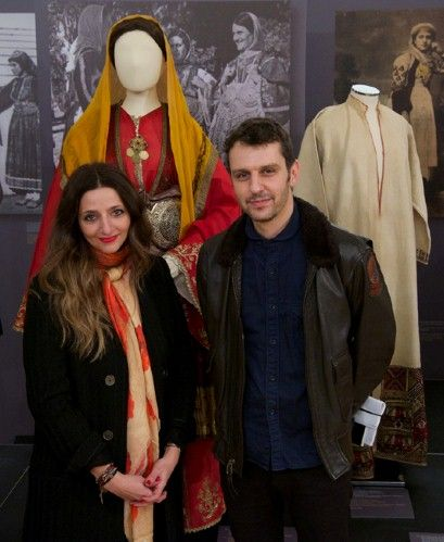 Marios Schwab and Athena Procopiou inside the Patterns of Magnificence exhibition, Hellenic Centre, London, February 2014. Guise Magazine