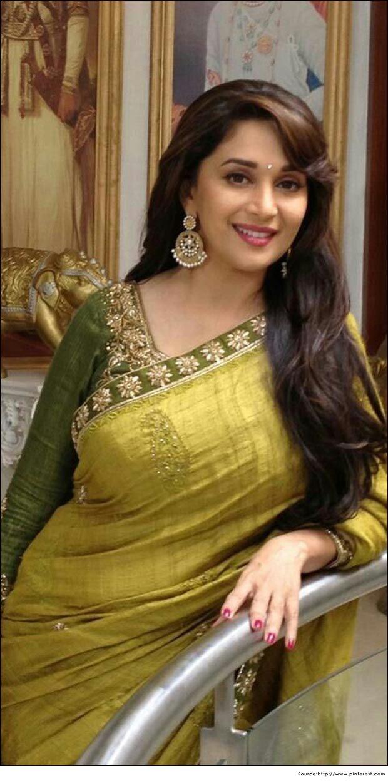 Madhuri Dixit in Saree - Designer Yellow Sarees