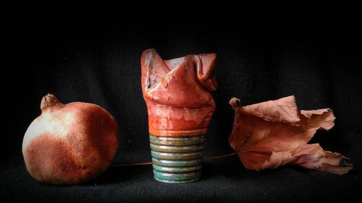 Pottery Ceramic Bottle Ceramic Earthenware Vase strange oddities goth gothic ceramica vaso in maiolica arte artistic faience di studyartantique su Etsy