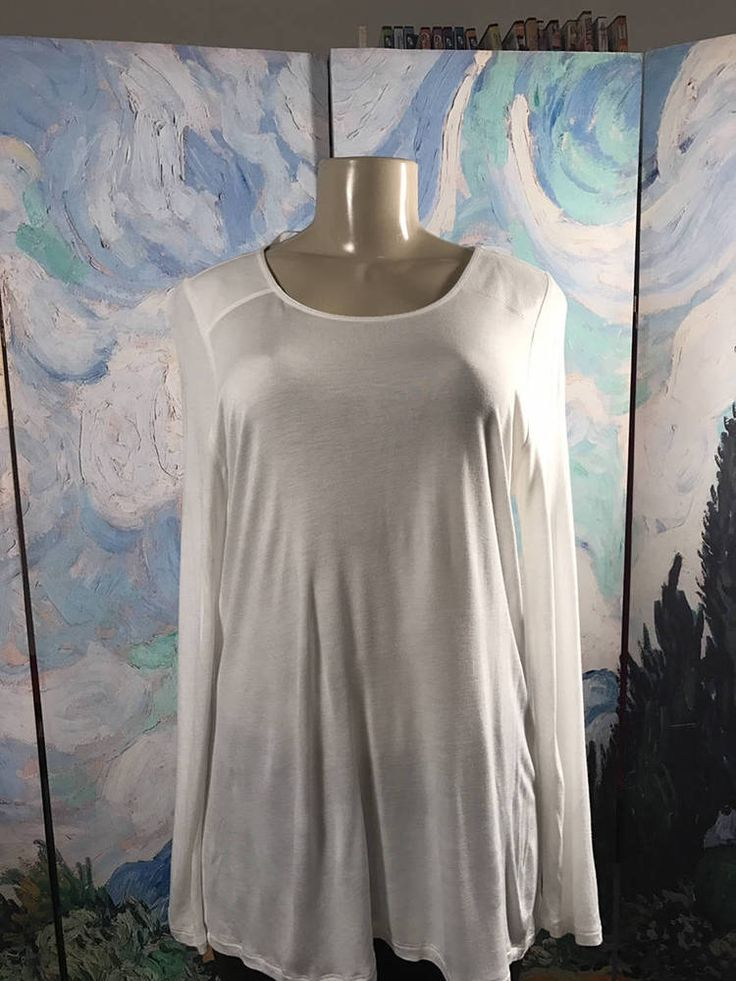 Apt 9 L White Mixed Material Scoop Neck Sheer Step Hem Long Sleeve Tunic Top #Apt9 #Tunic #Casual