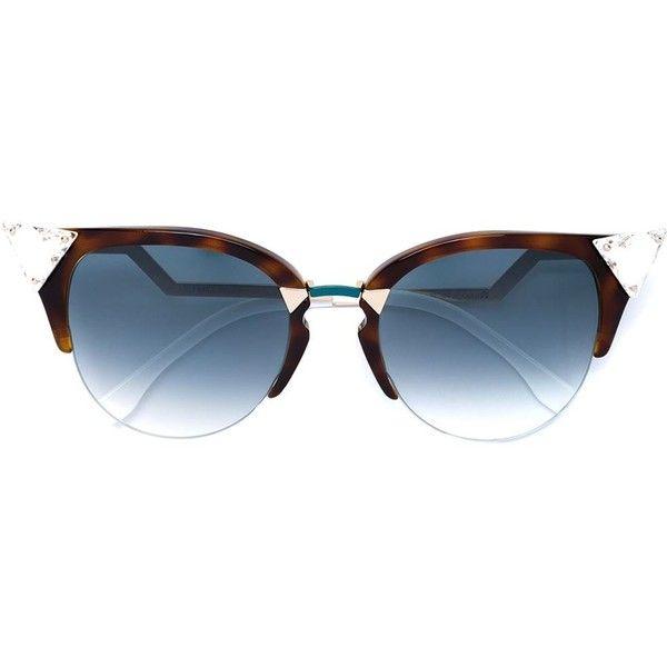 Fendi Eyewear 'Iridia' sunglasses ($434) ❤ liked on Polyvore featuring accessories, eyewear, sunglasses, brown, cat-eye glasses, brown sunglasses, brown glasses, tortoiseshell sunglasses and tortoise glasses
