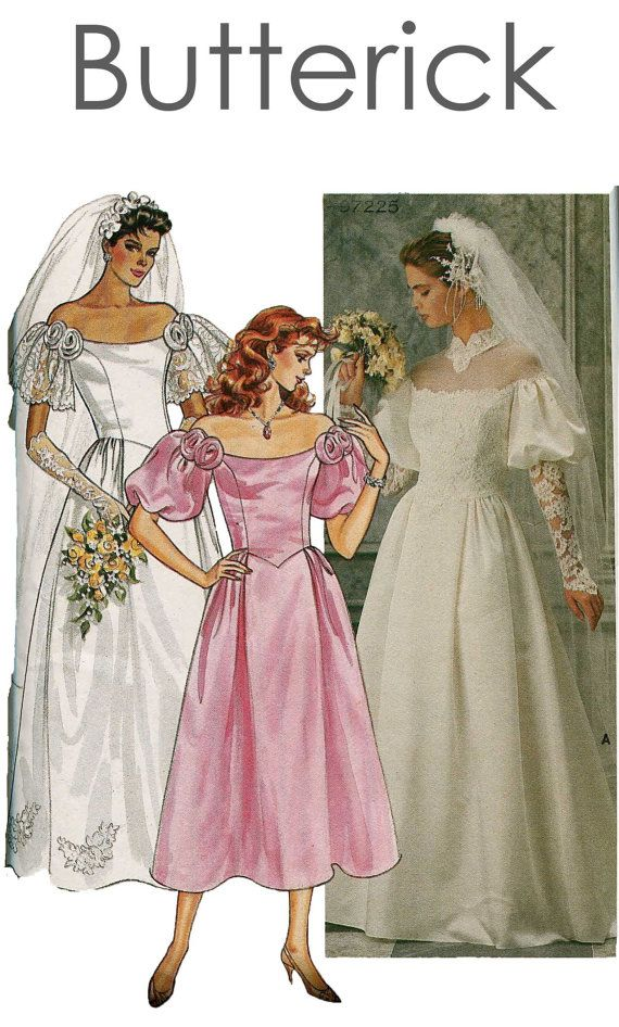 Vintage 1980s butterick bridal 3136 wedding bridesmaid for Butterick wedding dress patterns