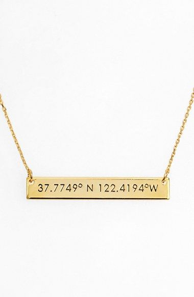 Love love love, i wish there were more cities  BaubleBar Coordinate Bar Pendant Necklace available at #Nordstrom
