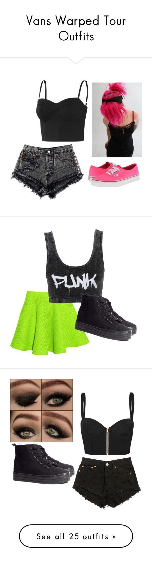 """Vans Warped Tour Outfits"" by mjvm on Polyvore featuring Vans, adidas, Chalayan, Neon Hart, H&M, sass & bide, Converse, American Apparel, Ray-Ban and BBon-J"