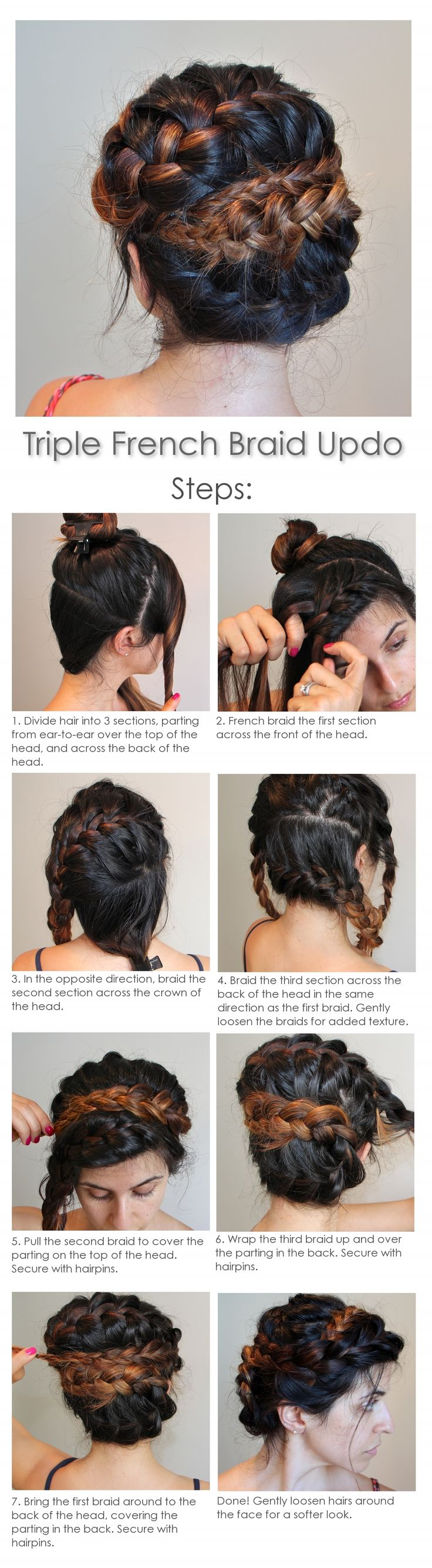 Easy braided updo, 10 minute hair style, summer hair styles, french braid tutorial. Need to try