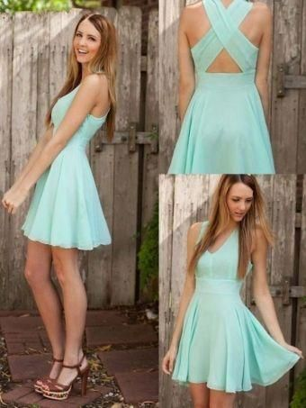 2015 New Short Graduation Dresses A Line V Neck Criss Cross Back Chiffon Party Dresses Simple Mini Homecoming Dress Dhyz Iconic Cocktail Dresses Latest Cocktail Dress From Bridal7, $69.64| Dhgate.Com