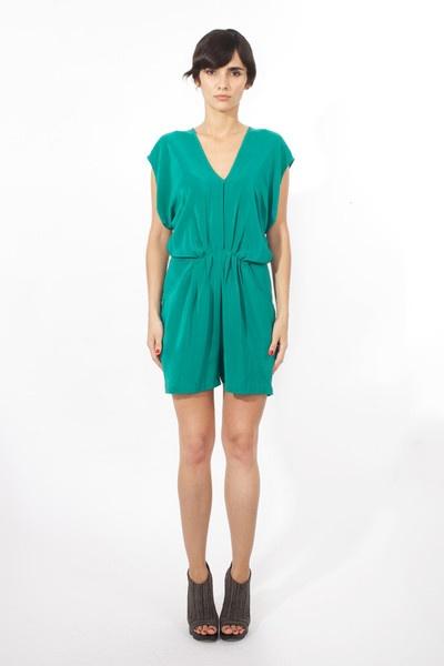 SZEKI - Pleated Mini Palazzo Romper (Emerald Green): Romper Emerald, Emeralds, Emerald Green, Palazzo Romper, Minis, Fall Styles, Products