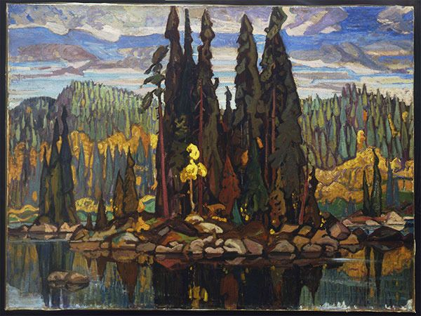 Arthur Lismer, Isles of Spruce, 1922. Oil on canvas, 136 x 179 x 7 cm. Hart House Art Collection, University of Toronto, Purchased by the Hart House Sketch Committee, 1927/28.