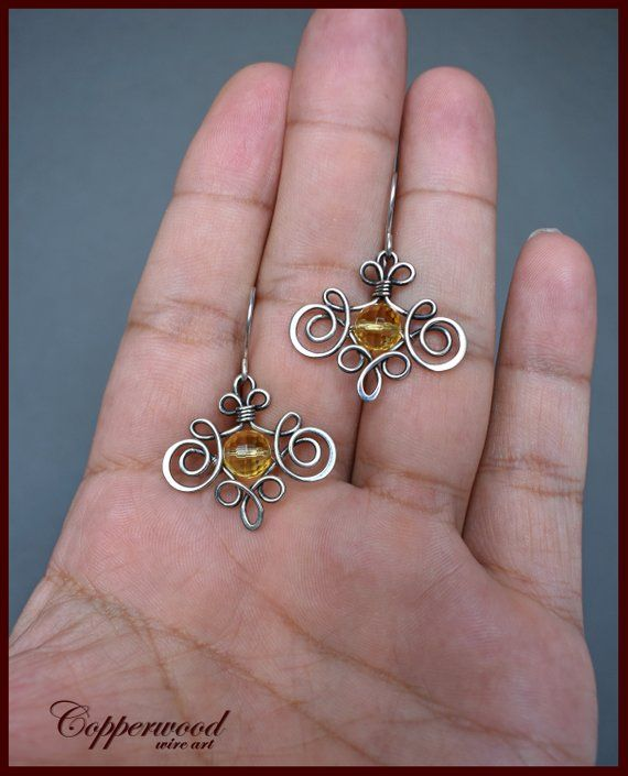 Copper Wire Wrapped Earrings with Citrine Gemstone