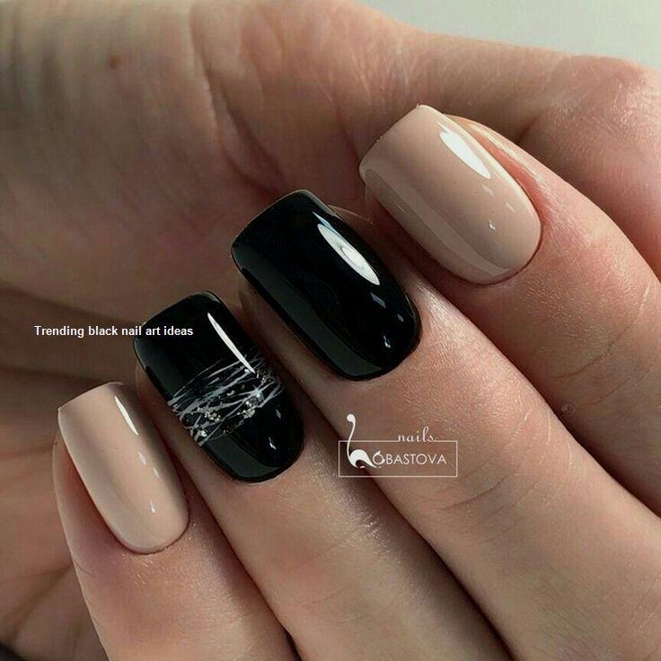 20 Simple Black Nail Art Design Ideas Blacknails Nail Dark Nail Designs Dark Color Nails Nail Colors