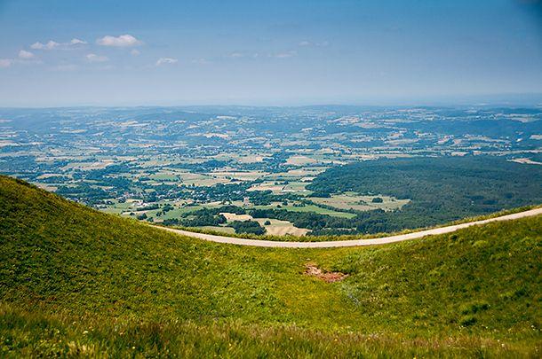 Trails around Puy de Dome offer 360 degree views of Auvergne