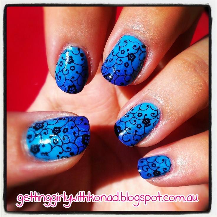 Floral Blue Gradient - BYS 'Matte Blue' - Konad m73