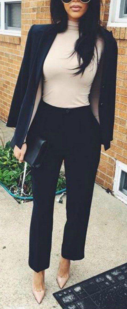 work outfit idea | black blazer + black pants + nude top + pumps
