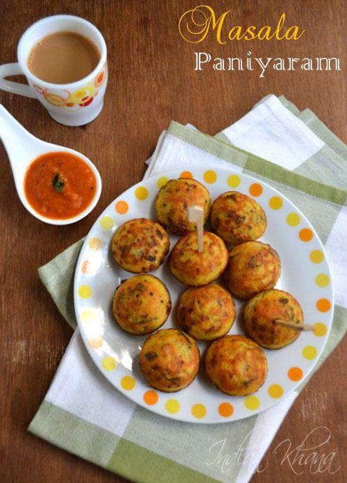 Masala Kuzhi Paniyaram Recipe  ....Easy snack/breakfast  from leftover idli-dosa batter