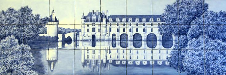 Hand painted tile mural depicting the French landmark on the River Cher, near the village of Chenonceaux.: