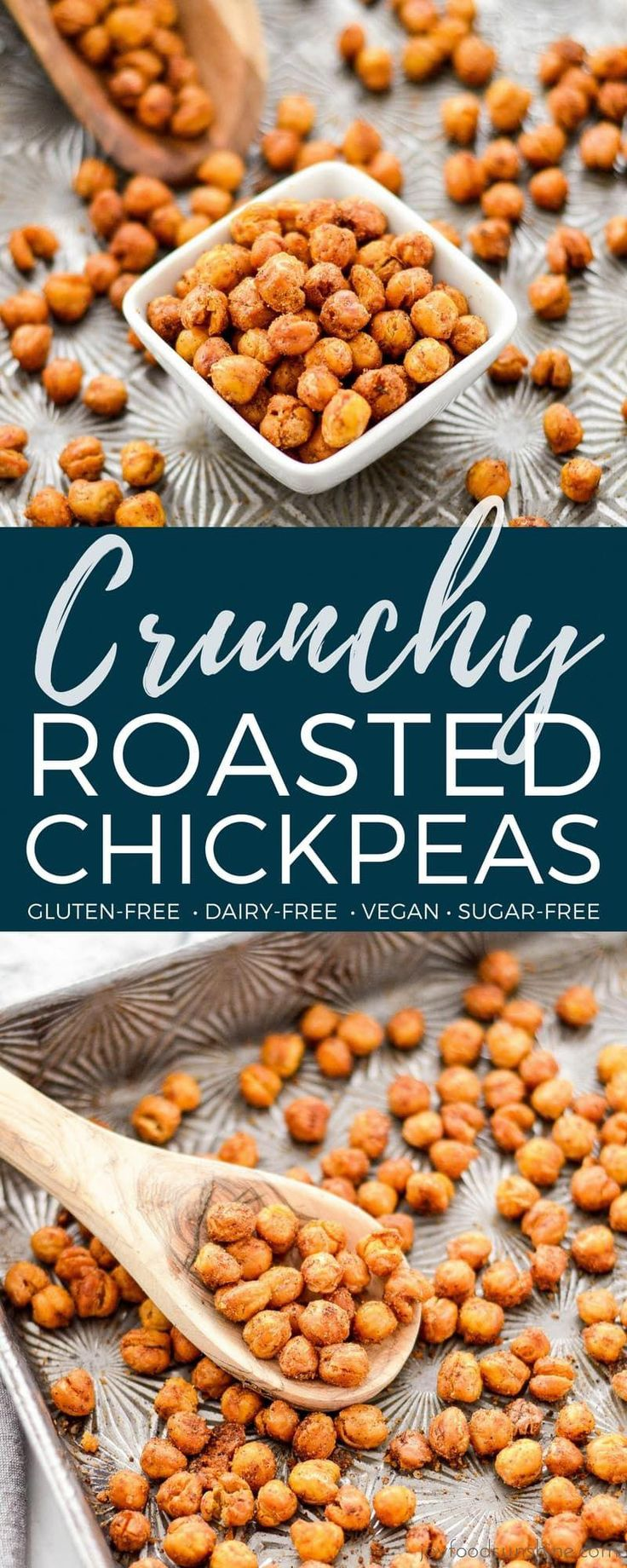 These perfectly seasoned Crunchy Roasted Chickpeas make a great snack or salad topper! They're easy, flavorful & healthy! Vegan, gluten-free, dairy-free, & sugar-free! #chickpeas #recipe #crunchy #roasted #snack #glutenfree #dairyfree #sugarfree #vegan #crunchychickepeas #healthy #healthyrecipe #recipe #JuiceDetoxEasy