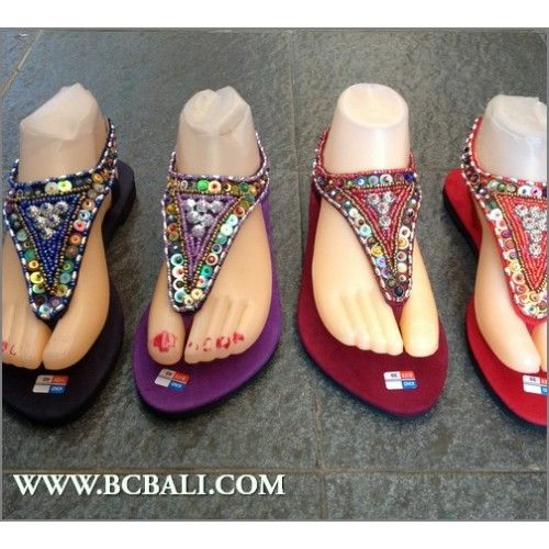 Indonesia Strappy Sandals Beads Slipper - indonesia strappy sandals beads,  handmade sandals strappy beads bali