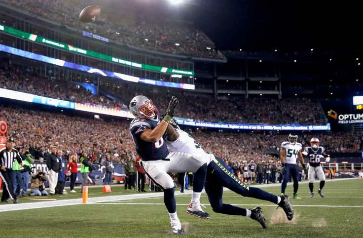 Seahawks vs. Patriots:  31-24, Seahawks  -  November 10, 2016  -   Rob Gronkowski of the New England Patriots attempts to catch a pass as he is defended by Kam Chancellor of the Seattle Seahawks during the first quarter of a game at Gillette Stadium on Nov. 13, 2016 in Foxboro, Mass.