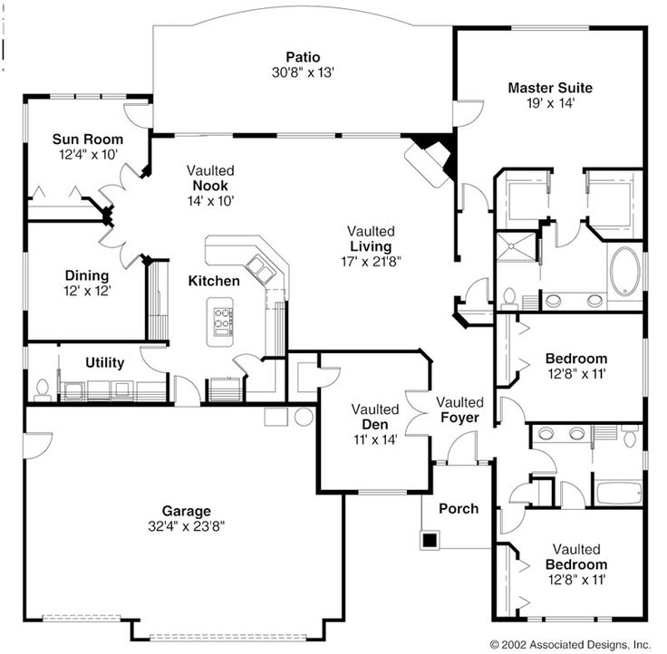 Open ranch style floor plans ranch style house plans for Ranch style cabin plans