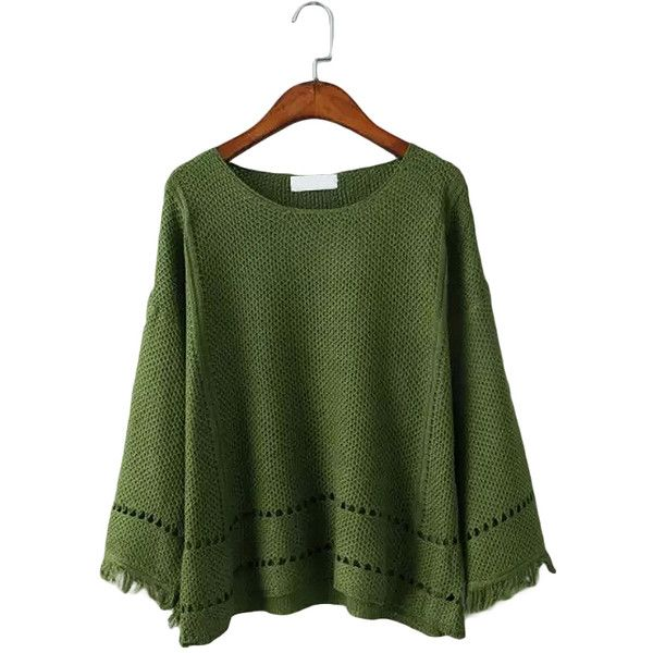 Green Vintage Tassels Cuff Long-sleeved Hollow Sweater (€18) ❤ liked on Polyvore featuring tops, sweaters, long sleeve sweaters, vintage tops, tassel top, green top and long sleeve tops