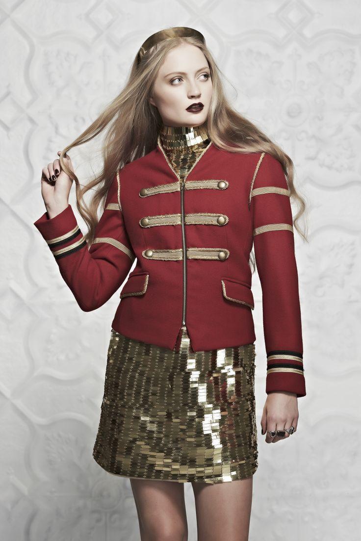Gold Shoulder Dress with the Solider System Jacket