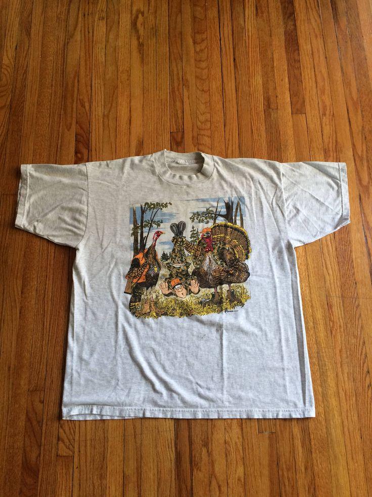 Vintage Funny Hunters Become the Hunted Turkeys Hunting Humans Vegan Oversize T-Shirt by VintageVanShop on Etsy