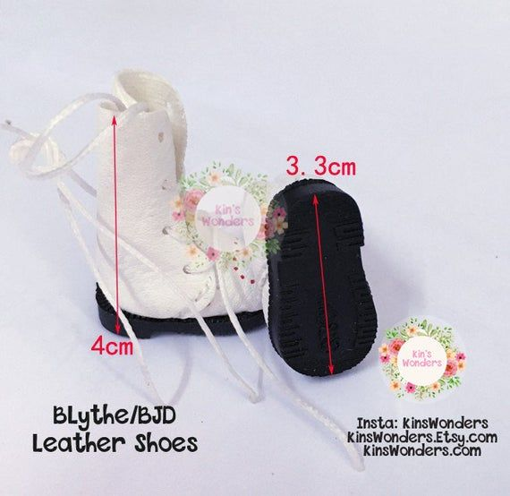 Blythe Doll Leather Shoes 1/6 Dolls, Pullip, BJD, Azone Jerryberry, Momoko – Doll Clothing Accessories Boots Fashion 3.3cm Laces Tie up