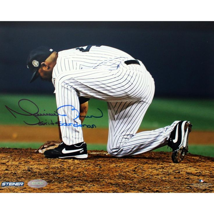 Mariano Rivera Scooping Dirt After Final Game At Yankee Stadium Signed 8x10 Photo wExit Sandman Insc