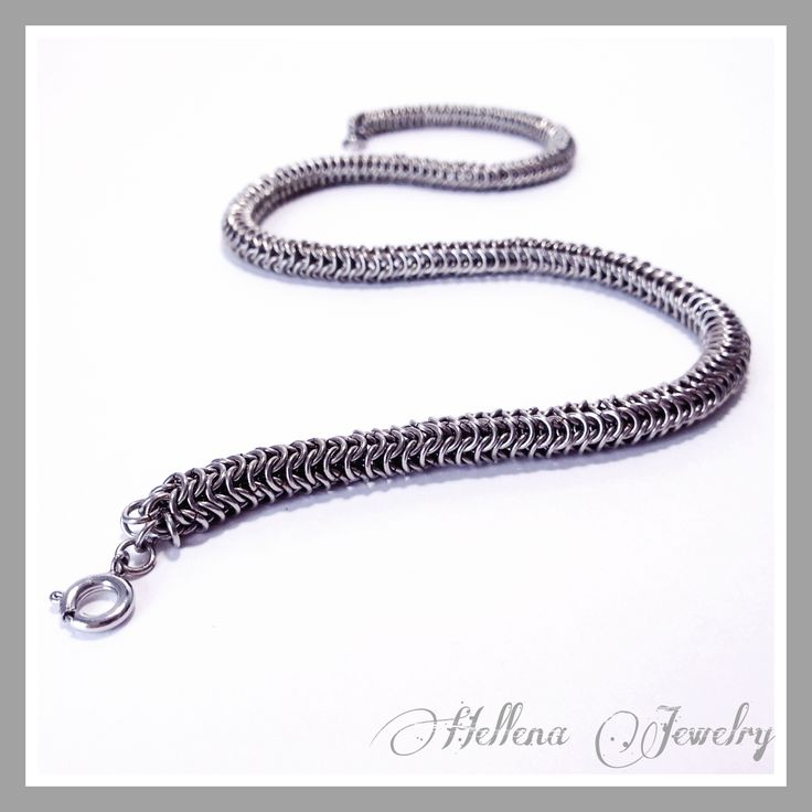 Кольчужная круглая цепь. Выполнена из меди с оловянным покрытием. Фурнитура под серебро.