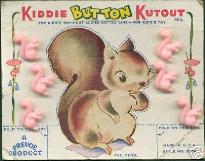"(::) Vintage figural squirrel buttons. Card is designed for a Kiddie to Kutout the picture along the dotted lines, & fold the base to create a stand-up ""toy"". Many button cards of this era also had coloring book outlines on the reverse side for the kids."