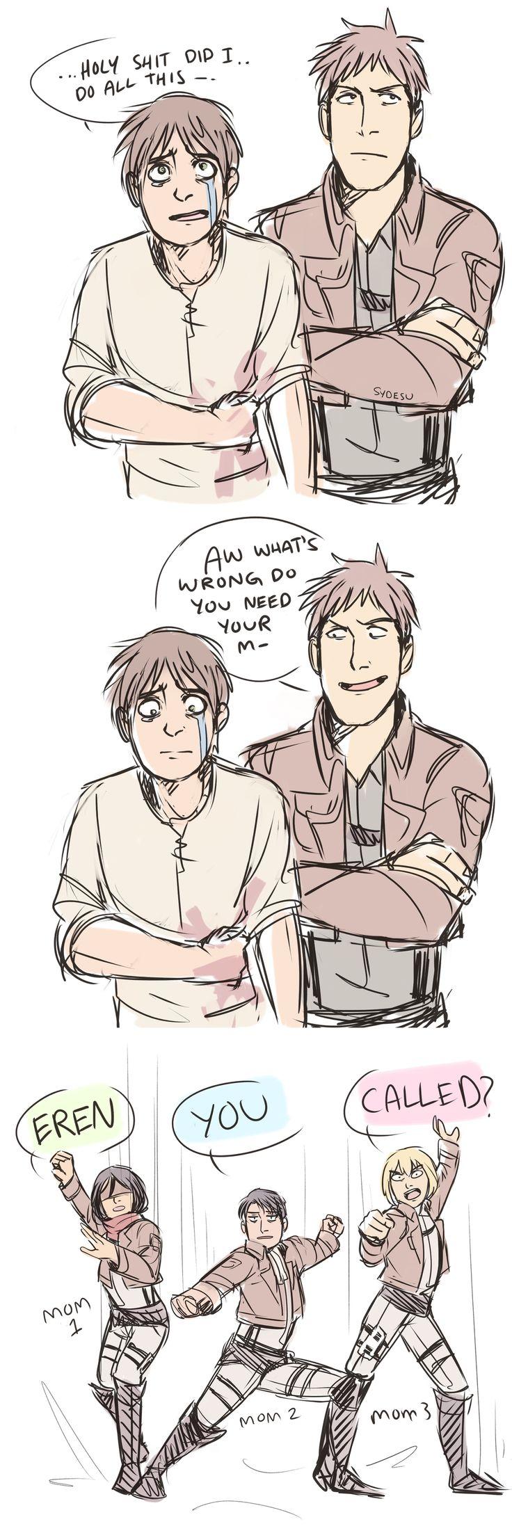 Non, pas besoin de sa mère : Mikasa, Levi et Armin sont là pour l'aider quel que soit le problème ! xD