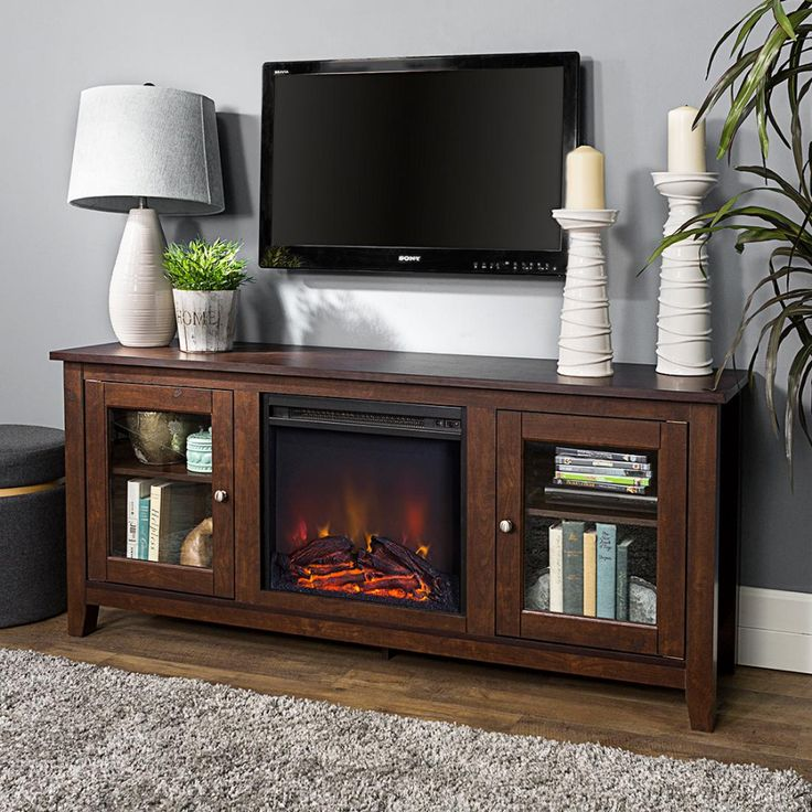 W Trends Houston 58 Fireplace Tv Stand For Tvs Up To 65 Brown
