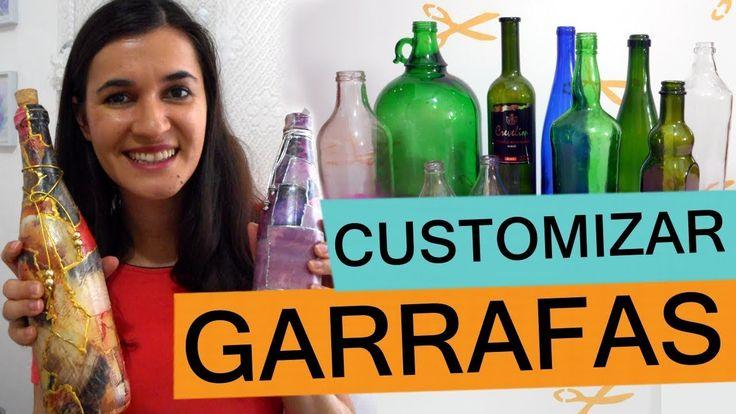 Passo a passo como reaproveitar e decorar garrafas de vidro - DIY Reciclagem e Decoração