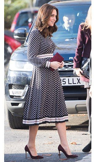 Currently expecting her third child, the pregnant Duchess of Cambridge is keeping her signature style in tact as she adapts to her growing figure. Here are the latest looks from her wardrobe as we follow her fashion throughout her pregnancy. Could it have been a nod to brother-in-law Prince Harry's American bride-to-be? On November 28, the day after it was revealed L.A. native Meghan Markle will be joining the royal family, the Duchess of Cambridge wore a US designer, Kate Spade, for...