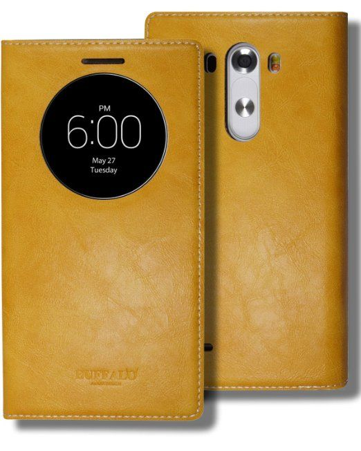 LG G3 Quick Circle Window Folio Case, LG G 3 Soft Leather View Flip Cover, 9 Colors - Retail Packaging (Mustard Yellow)