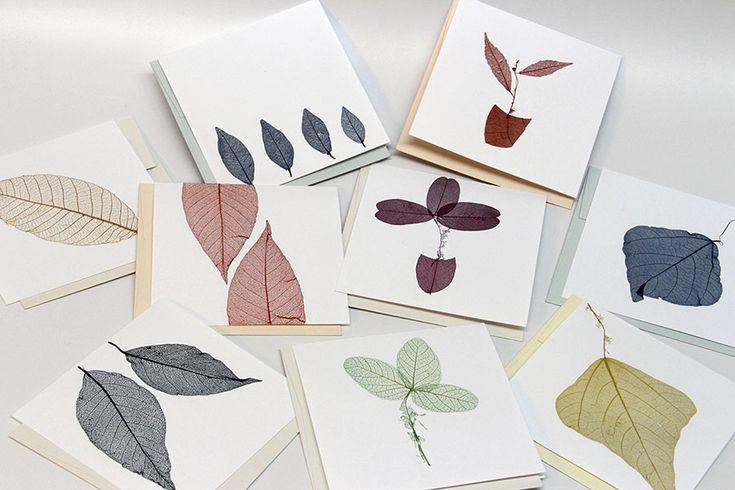 Cartões artísticos com folhas esqueletizadas – tamanho 13 x 13 cm