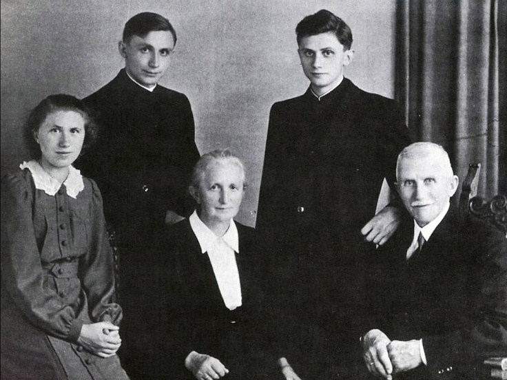 A 1951 photograph of the Ratzinger family shows Georg Ratzinger, back row, left, and Joseph after their ordination. Seated, from left, are Maria Ratzinger, mother Maria and father Josef.