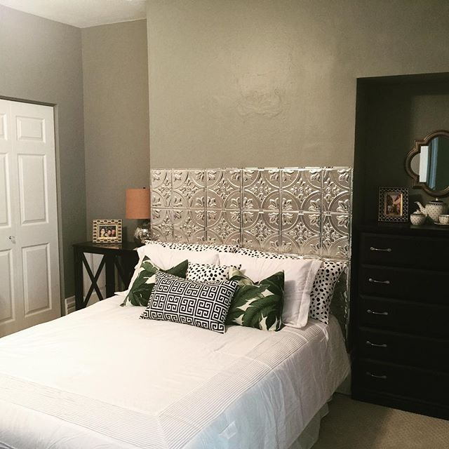 Aluminum Ceiling Tile Headboard is complete! house diy