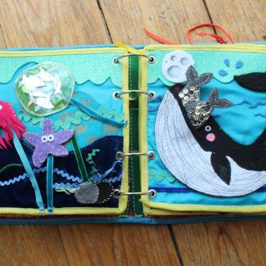mama extraterrestre blog quiet book DIY mar ballena calamar estrella mar banco peces finger puppets