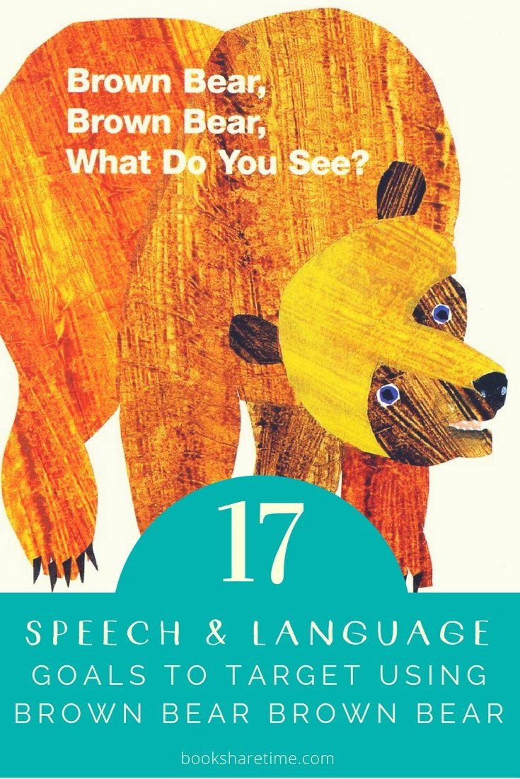 Check out the 17 speech and language goals you can target in your speech therapy sessions using Brown Bear, Brown Bear by Bill Martin Jr & Eric Carle