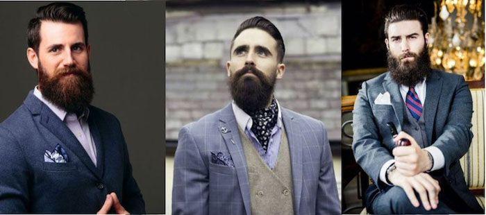 vollbart wachsen lassen drei bilder von den modernen männern hipster style mit anzug grauer anzug blauer anzug männer mit bärten