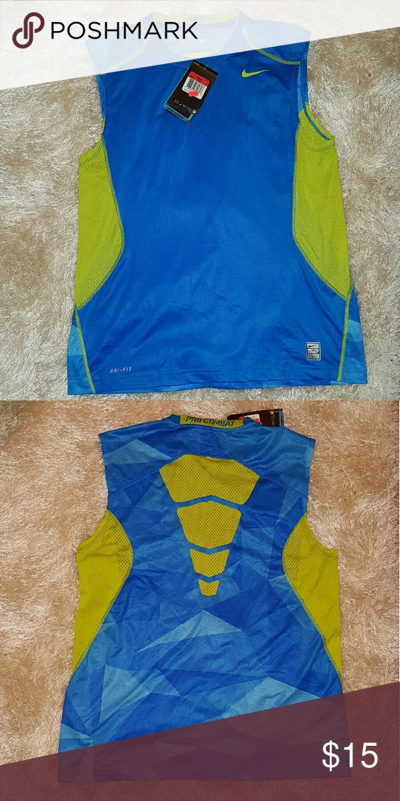 Nike Pro Combat Tank Top Dri-Fit nike Blue and Highlighter Yellow tank top. Its Dri-Fit and fitted. Brand new with tags never worn! Nike Shirts Tank Tops
