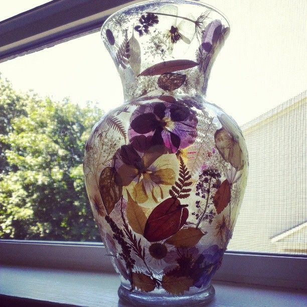 I mod podged this vase with grandma's old pressed flowers #diy